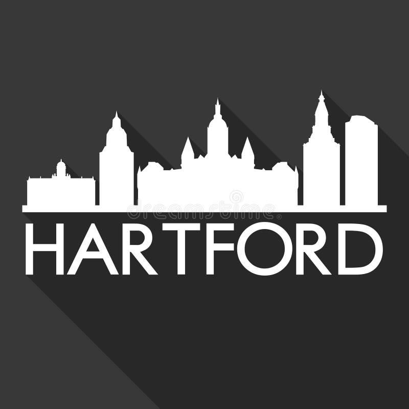 Il nero del modello della siluetta della città di Art Flat Shadow Design Skyline di vettore dell'icona di Hartford Connecticut St illustrazione di stock