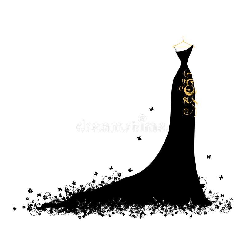 Il nero del vestito da sera sui ganci royalty illustrazione gratis