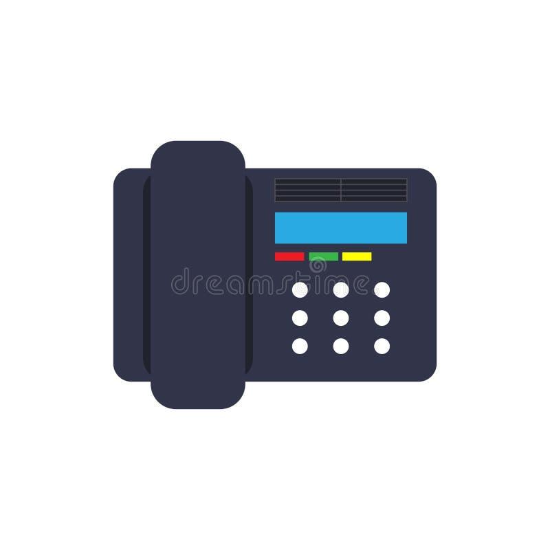 Il nero dell'attrezzatura isolato illustrazione del dispositivo di simbolo Ricevitore telefonico dell'oggetto dello scrittorio di royalty illustrazione gratis