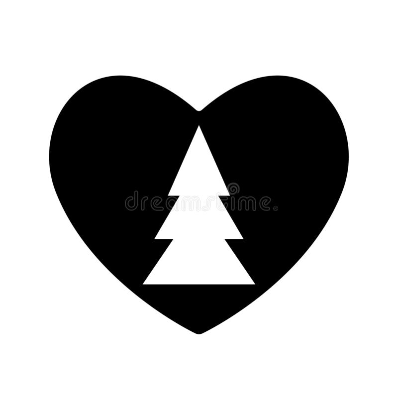 Il nero dell'icona dell'albero di Natale nel biglietto di S. Valentino del cuore Amore del nuovo anno di simbolo Progettazione se royalty illustrazione gratis