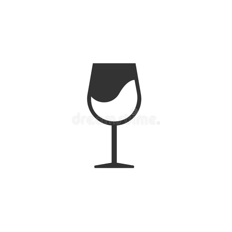 Il nero dell'icona del bicchiere di vino stile piano di progettazione del segno Progettazione Simbolo web Illustratore di vettore illustrazione vettoriale