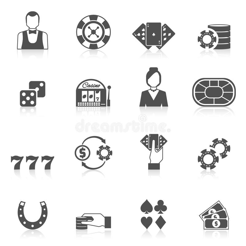 Il nero dell'icona del casinò illustrazione di stock
