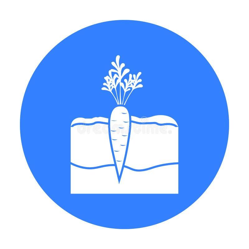 Il nero dell'icona della carota Singola icona dalla grande azienda agricola, giardino, il nero della pianta di agricoltura royalty illustrazione gratis