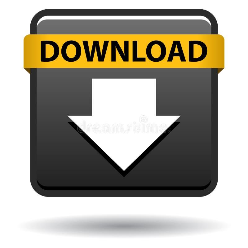 Il nero dell'icona di web del bottone di download illustrazione vettoriale