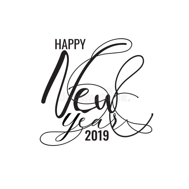 Il nero della fonte 2019 nuovi anni felice Spirito dell'illustrazione di vettore di festa royalty illustrazione gratis