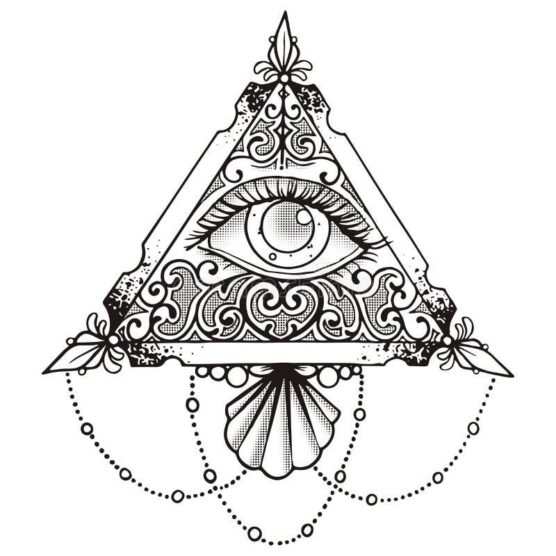 Il nero della piramide dell'occhio illustrazione vettoriale