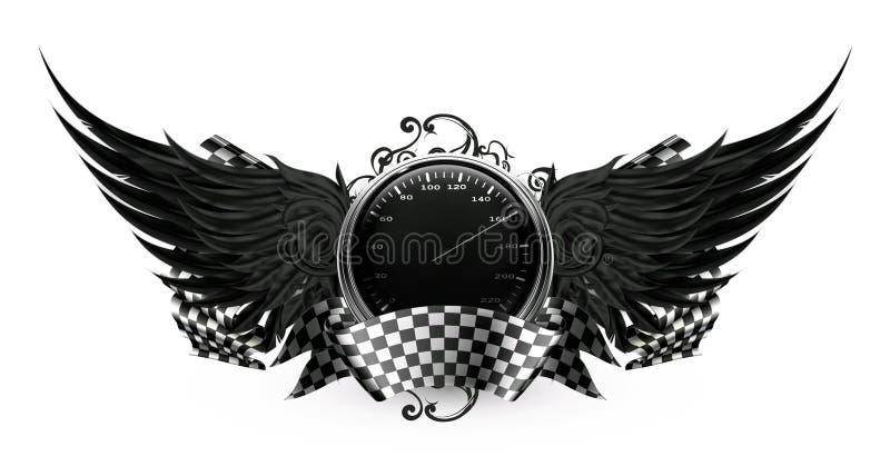 Il nero delle ali, corrente emblema illustrazione vettoriale