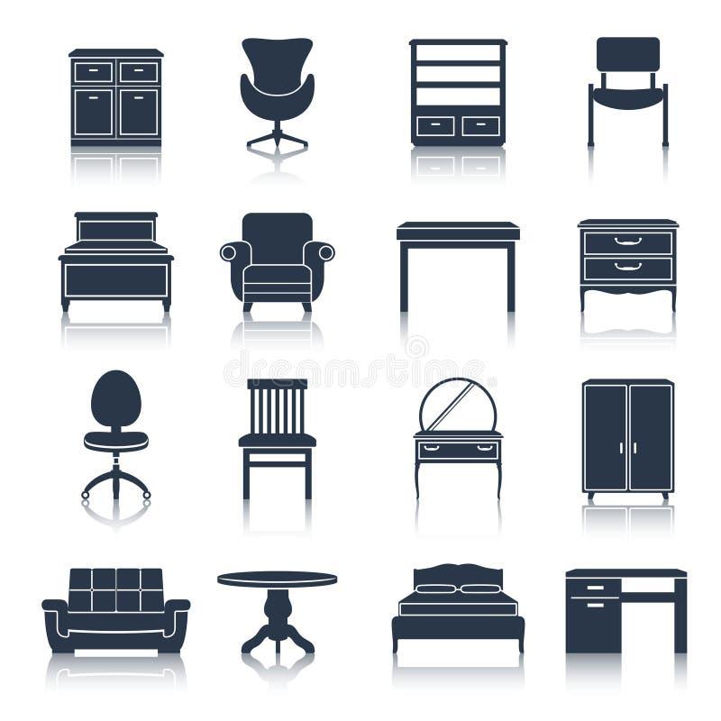 Il nero delle icone della mobilia illustrazione vettoriale for Mobilia download