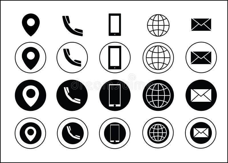 Il nero delle icone di informazioni di contatto del biglietto da visita di vettore illustrazione di stock