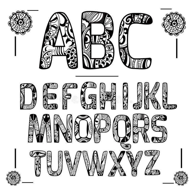 Il nero di alfabeto di Zentangle illustrazione di stock