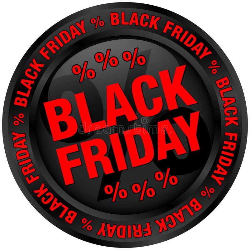 Il nero di Black Friday del bottone e rosso rotondi illustrazione vettoriale