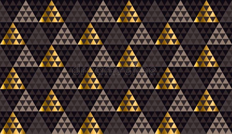 Il nero di lusso della geometria, oro e vettore senza cuciture beige illustrazione vettoriale