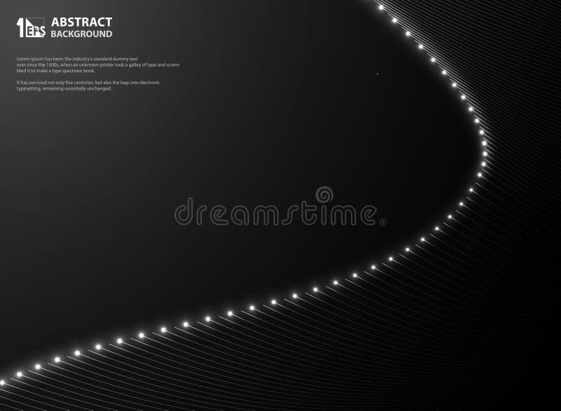 Il nero di pendenza dell'estratto con la linea scintilli d'ardore della maglia Presentazione scura del movimento illustrazione di stock