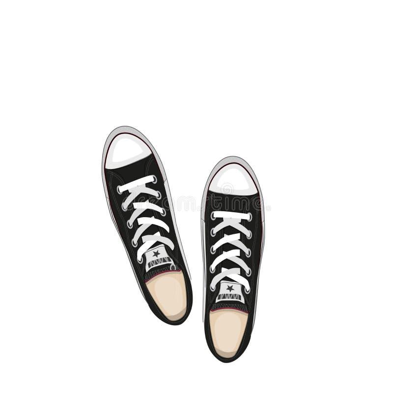 Il nero di scarpe, illustrazione di vettore isolata su fondo bianco royalty illustrazione gratis