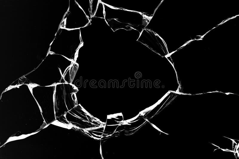Il nero di vetro del colpo del foro fotografia stock libera da diritti