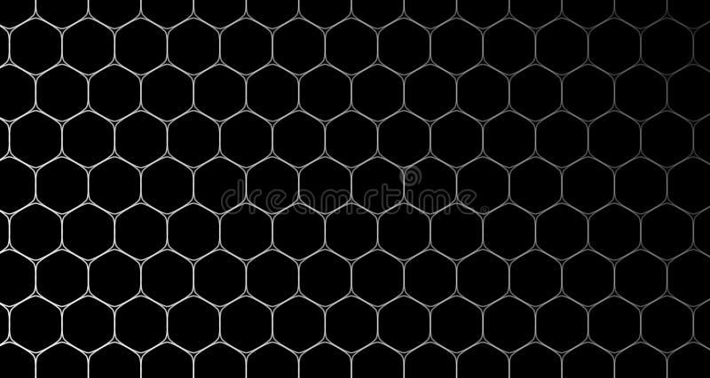 il nero e blu del modello delle cellule del fondo di esagono 4k illustrazione vettoriale