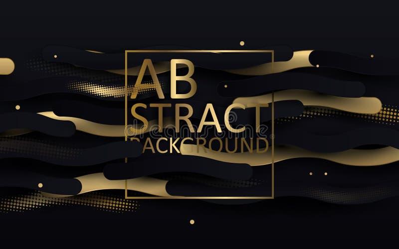 Il nero e fondo del lusso dell'oro Linee e coriandoli ondulati astratti di scintillio insegna, progettazione del modello del mani illustrazione vettoriale