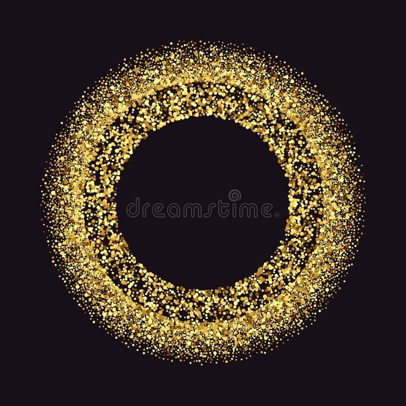 Il nero e fondo dell'oro con la struttura del cerchio e spazio per testo Decorazione di scintillio di vettore, polvere dorata illustrazione di stock