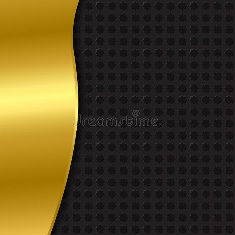 Il nero e fondo dell'oro con un modello fotografie stock libere da diritti