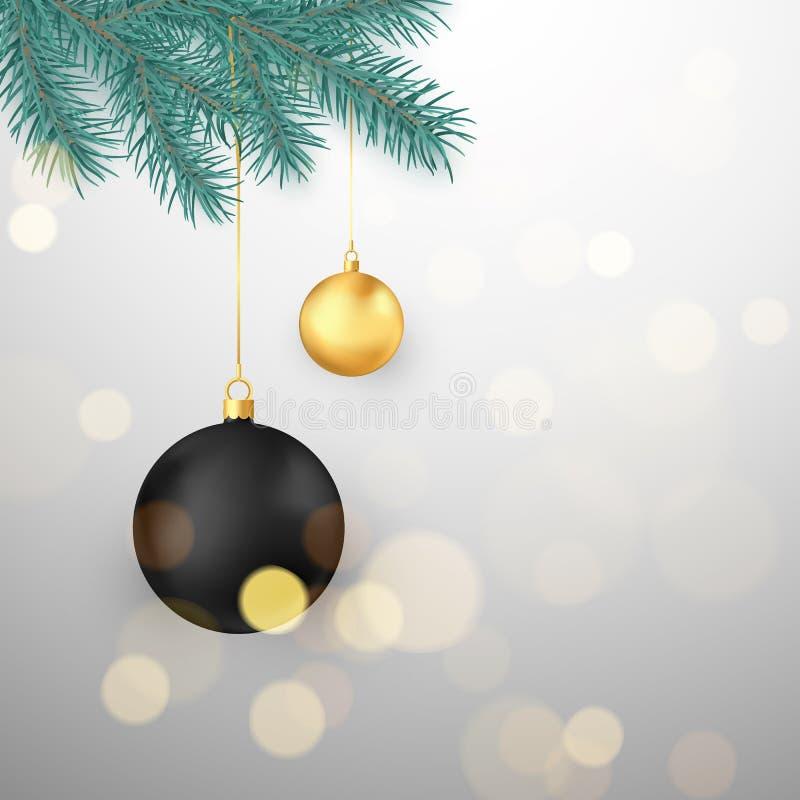 Il nero e palle di Natale dell'oro che appendono sul ramo dell'abete Elemento della decorazione di vacanza invernale Illustrazion illustrazione vettoriale