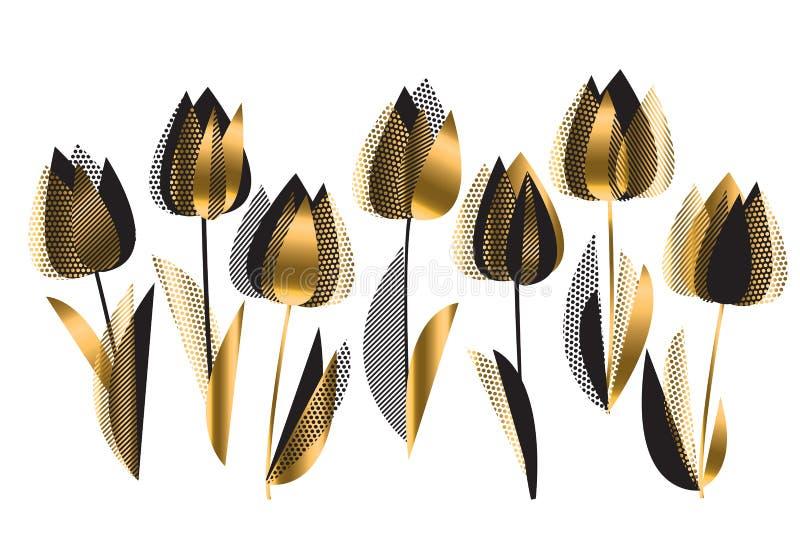 Il nero ed illustrazione di vettore dei fiori del tulipano dell'oro royalty illustrazione gratis
