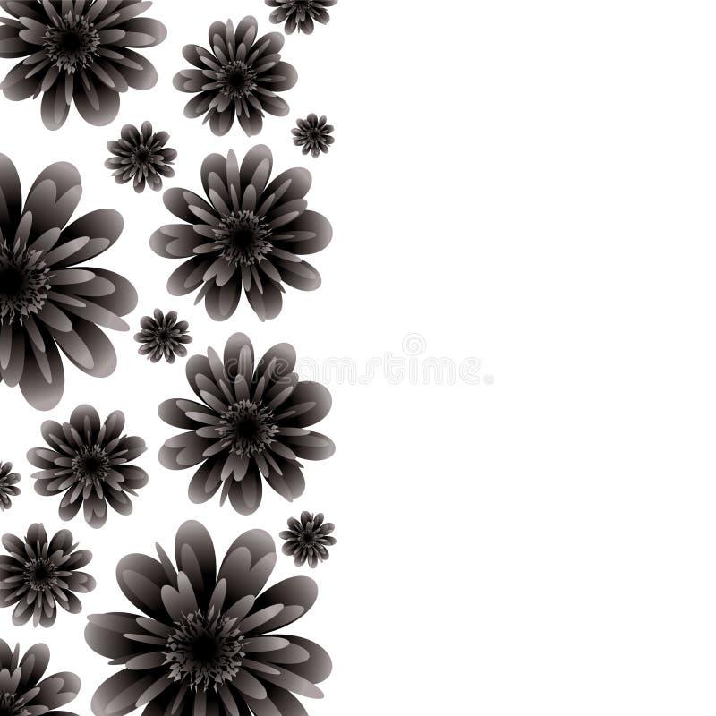 Il nero floreale della bandiera illustrazione di stock