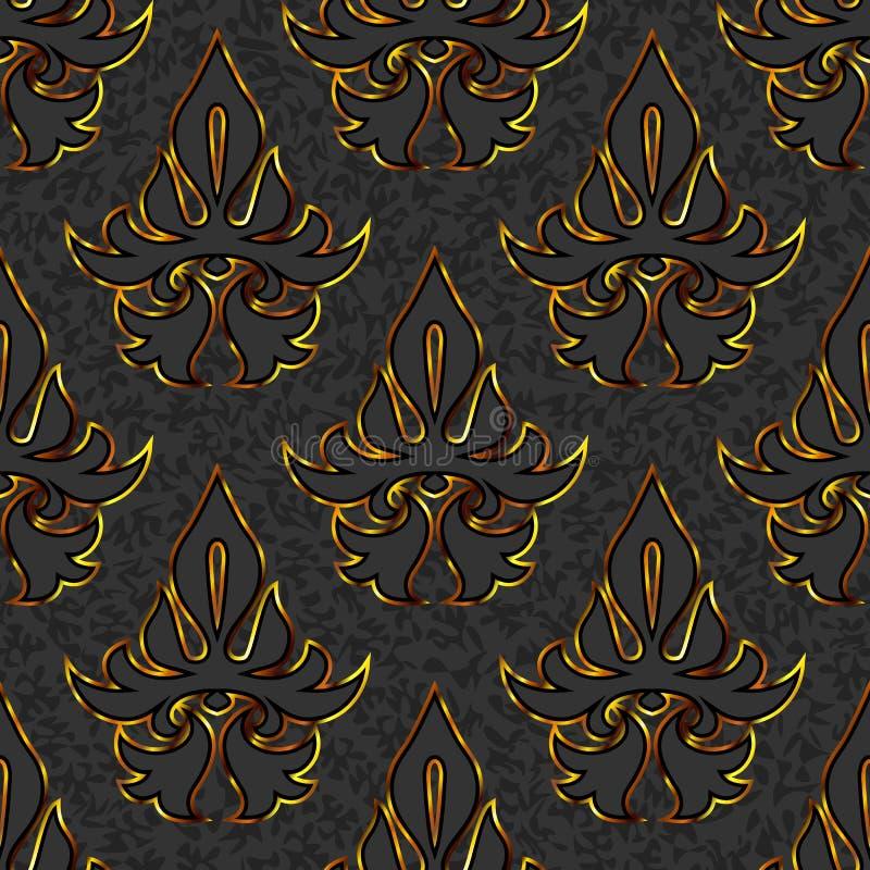 Il nero floreale senza cuciture del damasco, fondo dell'oro illustrazione di stock