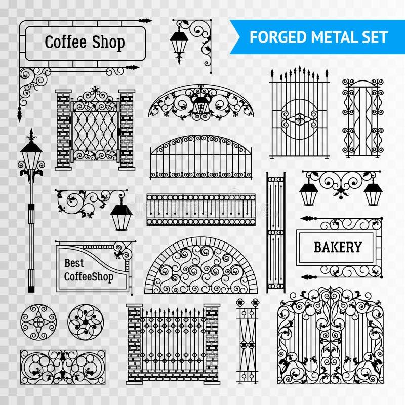 Il nero forgiato decorativo dell'insieme di elementi del metallo royalty illustrazione gratis