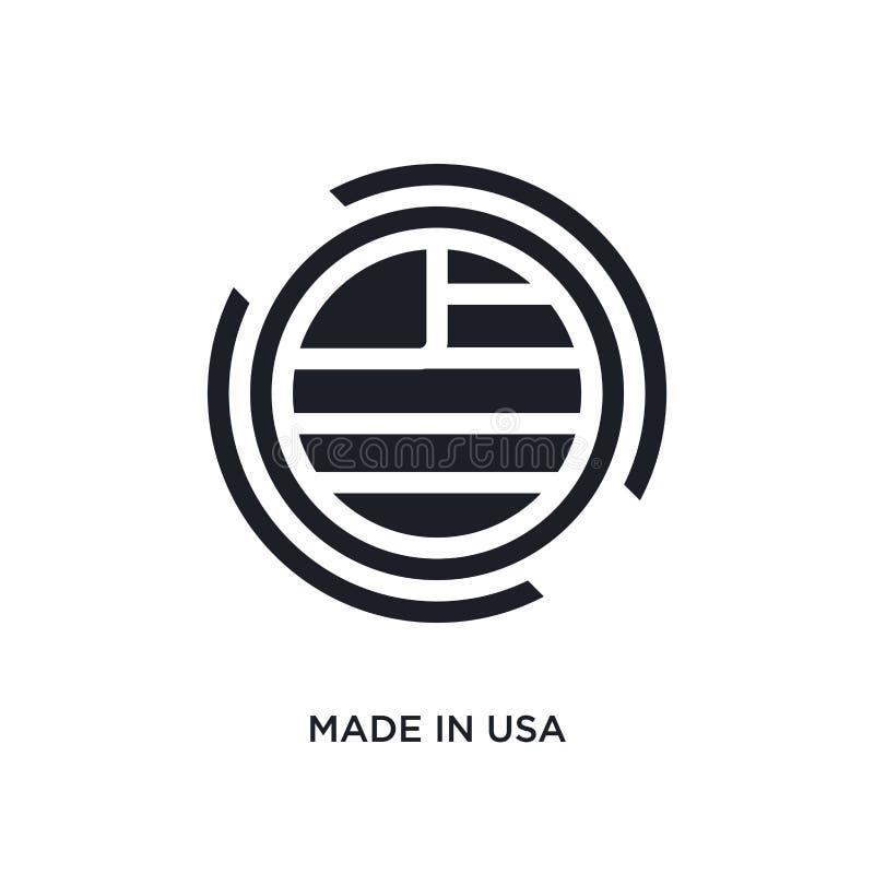 il nero ha fatto nell'icona di vettore isolata gli S.U.A. illustrazione semplice dell'elemento dalle icone di vettore di concetto illustrazione vettoriale