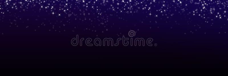 Il nero leggero di scena della luce panoramica della stella e fondo blu con le stelle twinkly di scintillio del diamante illustrazione di stock