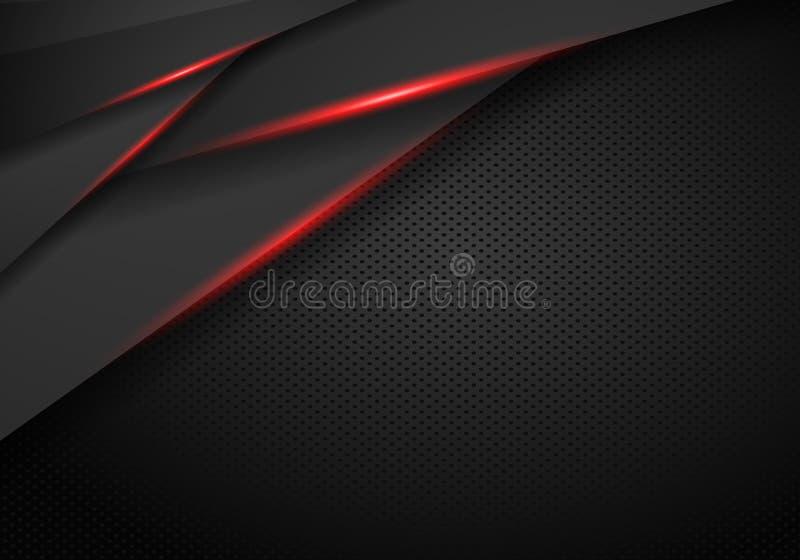Il nero metallico astratto sul fondo rosso della disposizione di concetto dell'innovazione di progettazione della struttura Illus illustrazione vettoriale