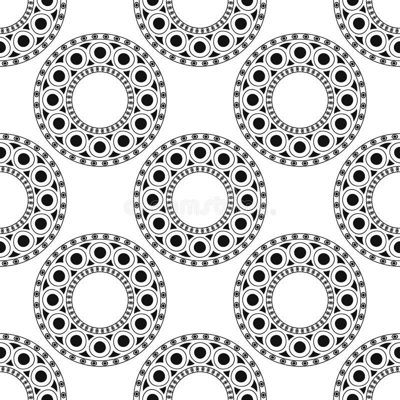 Il nero, modello etnico marocchino bianco Modello senza cuciture con l'arabesque astratto, mandala, sole, stella illustrazione di stock