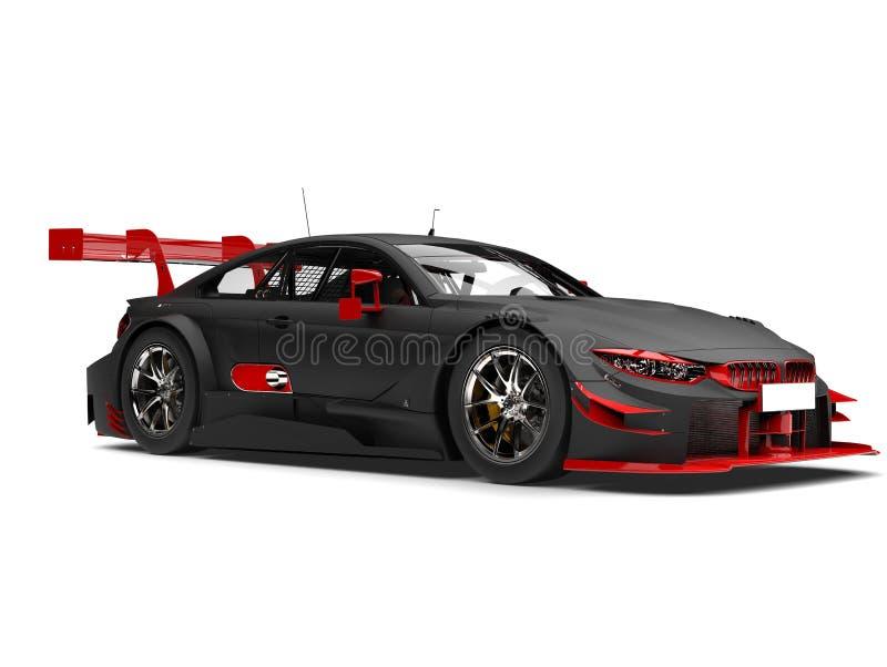 Il nero opaco che corre automobile eccellente con i dettagli rossi illustrazione vettoriale