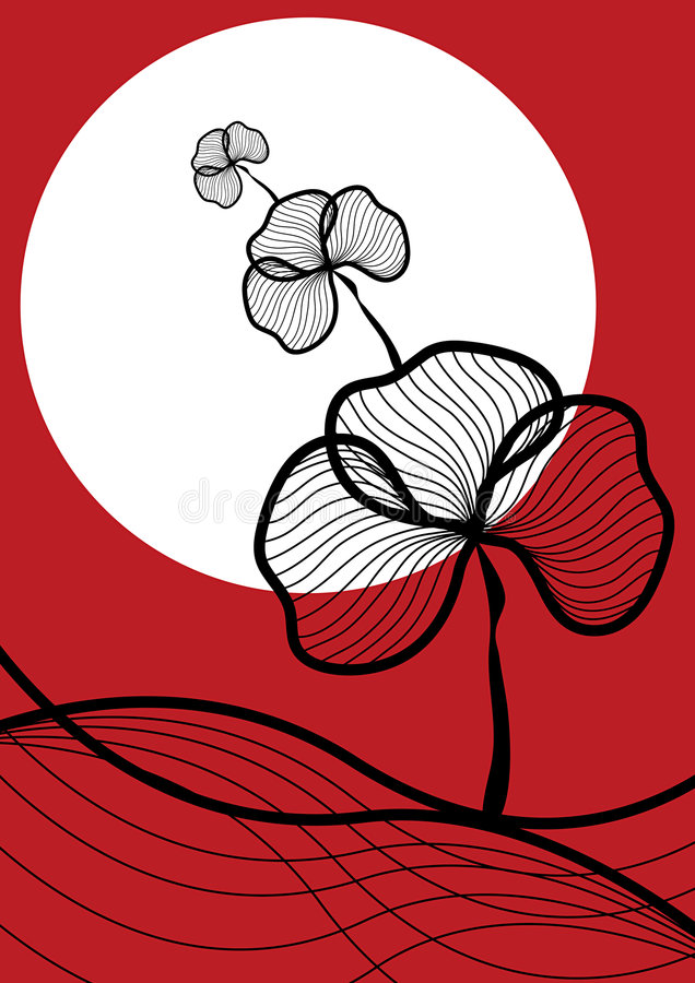 Il nero orientale della pianta su colore rosso illustrazione vettoriale