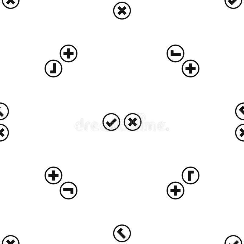 Il nero senza cuciture del modello di selezione dell'incrocio e del segno di spunta illustrazione vettoriale
