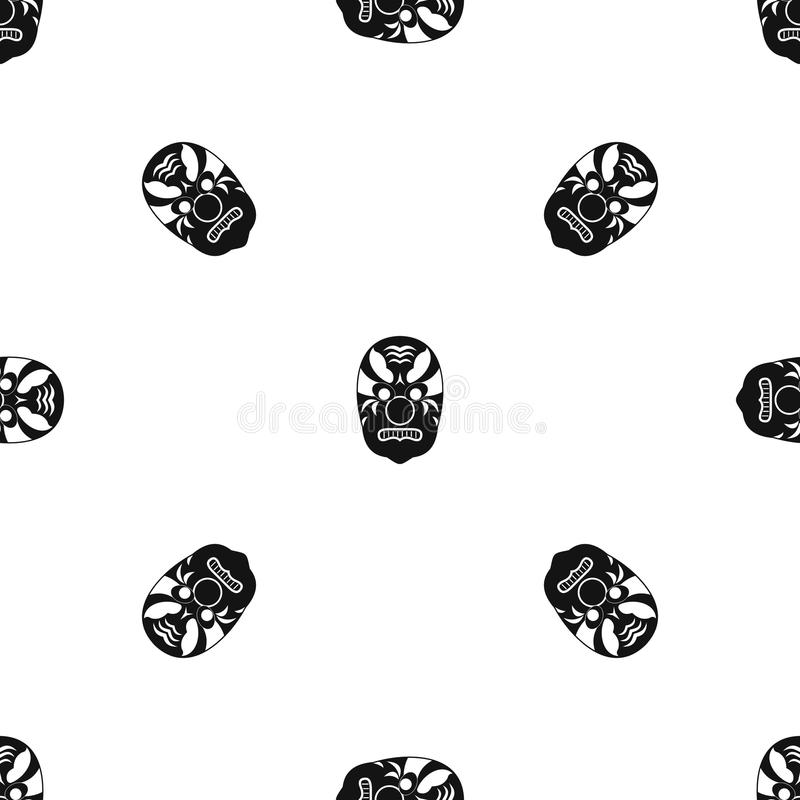 Il nero senza cuciture tribale del modello di maschera illustrazione di stock