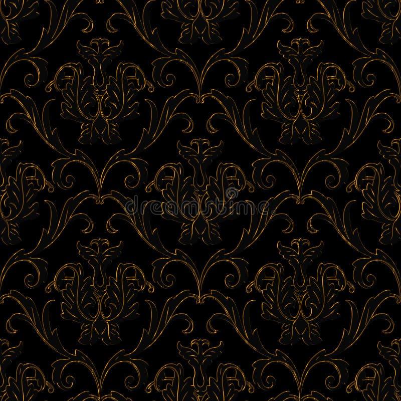 Il nero senza giunte con la priorità bassa floreale della banda dell'oro illustrazione di stock