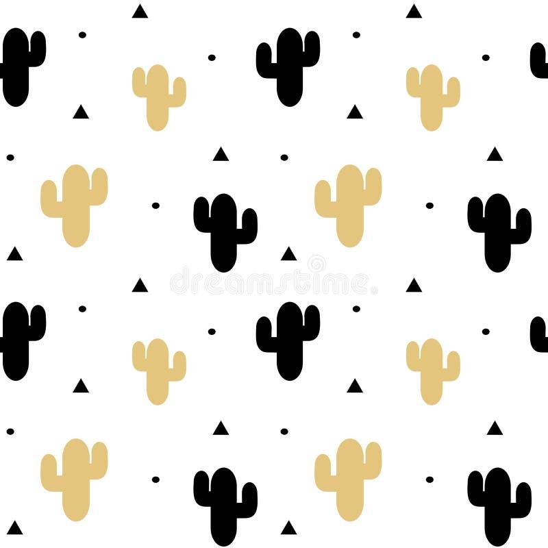 Il nero sveglio ed illustrazione senza cuciture del fondo del modello del cactus dell'oro royalty illustrazione gratis