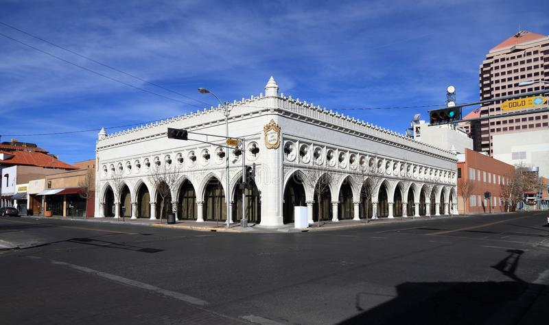 Il New Mexico/Albuquerque: Architettura - costruzione di vita dell'occidentale fotografia stock