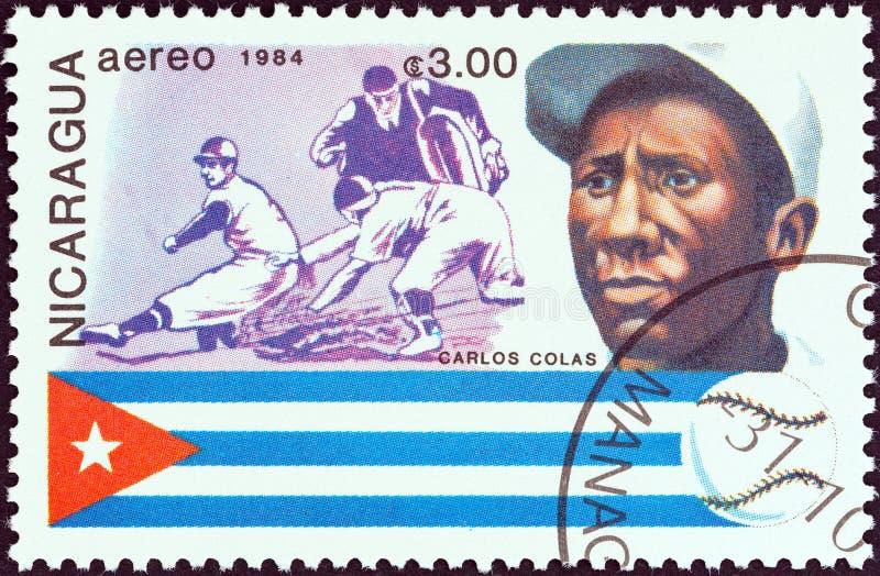 IL NICARAGUA - CIRCA 1984: Un bollo stampato nelle manifestazioni Carlos Colas, Cuba del Nicaragua, circa 1984 fotografie stock libere da diritti