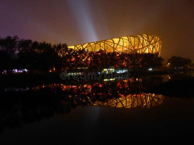 Il nido dell'uccello a Pechino fotografie stock libere da diritti