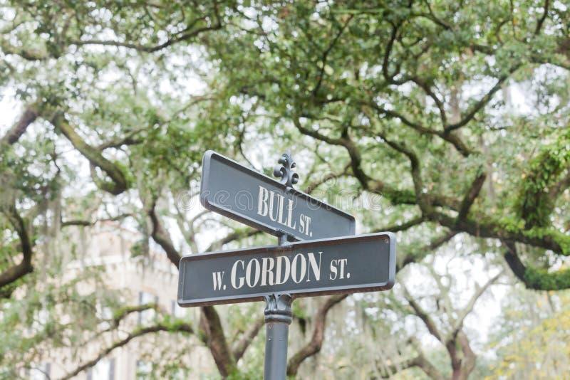 Il nome della via firma la savana storica GA Stati Uniti del distretto immagini stock libere da diritti