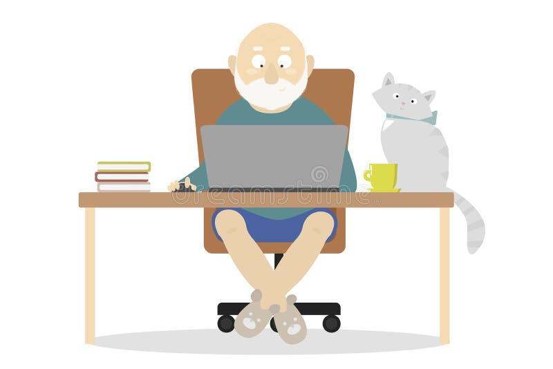 il nonno sta lavorando ad un computer illustrazione vettoriale