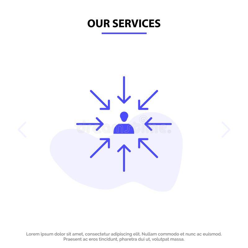 Il nostro candidato di servizi, scelta, sceglie, mette a fuoco, modello solido della carta di web dell'icona di glifo di selezion royalty illustrazione gratis