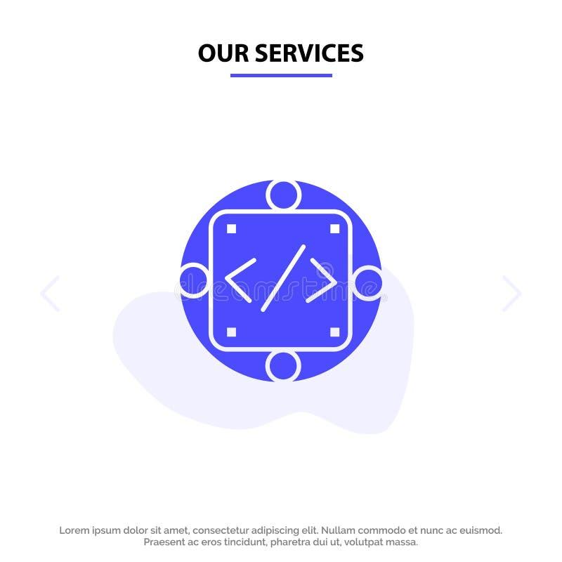 Il nostro codice di servizi, abitudine, implementazione, gestione, modello solido della carta di web dell'icona di glifo del prod royalty illustrazione gratis