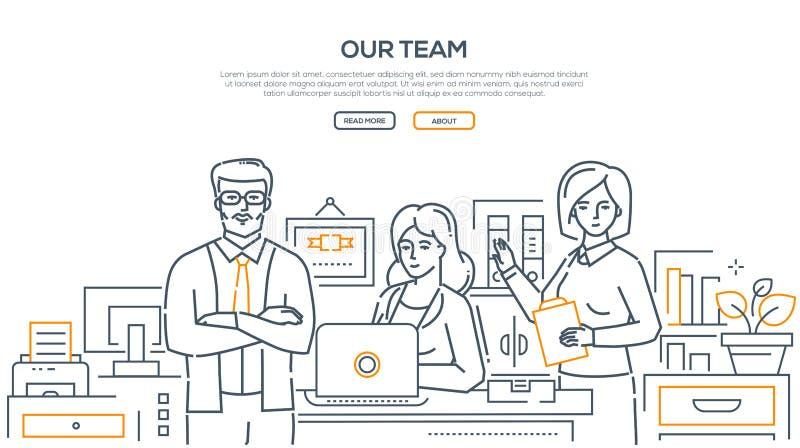 Il nostro gruppo - linea moderna insegna di stile di progettazione illustrazione di stock
