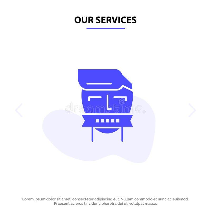 Il nostro ostaggio di servizi, bocca, avversario, chiusa, modello solido della carta di web dell'icona di glifo del terrorismo royalty illustrazione gratis