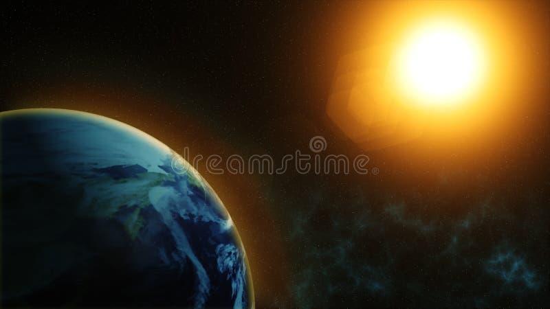 Il nostro pianeta Terra, il sole splende sul pianeta Terra come visto da spazio royalty illustrazione gratis