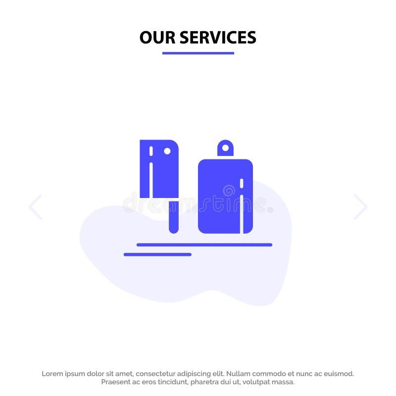 Il nostro selettore rotante di servizi, cucina, cuoco unico, preparazione, modello solido della carta di web dell'icona di glifo  royalty illustrazione gratis