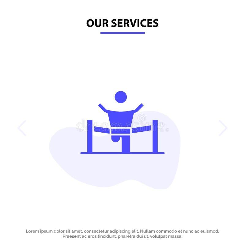 Il nostro vincitore di servizi, affare, rivestimento, capo, direzione, uomo, modello solido della carta di web dell'icona di glif royalty illustrazione gratis